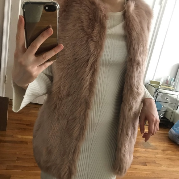 Neiman Marcus Jackets & Blazers - Pink Faux Fur Vest from Neiman Marcus